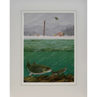 "Ice Fishing Print ""Togue In Trouble"" (Lake Trout)"