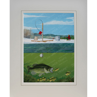 "Ice Fishing Print ""Largemouth Lunch"" (Largemouth Bass)"